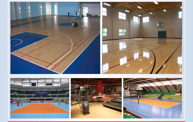 枫木PVC运动地板是仿枫木地板纹路开发的一款产品,专门为篮球场地面而设,铺装使用与实木枫木地板无明显差别,但在价格上更胜一筹,表面采用透明层处理,清洁起来非常方便,枫木纹发泡均匀、厚度适中,可以有效减少运动跌倒对运动员的伤害。而健身房使用此款地板,简介大方,由于呈浅色设计,可使光线发射达到最大效果,在空间方面得到视觉加强。 采用环保原料加工成型,不含任何有毒成分,各项指标经国家环保质量检验中心和国家体育用品质量监督检验中心检测,均为合格产品,并通过ISO9001国际质量体系认证和ISO14001国际环境管
